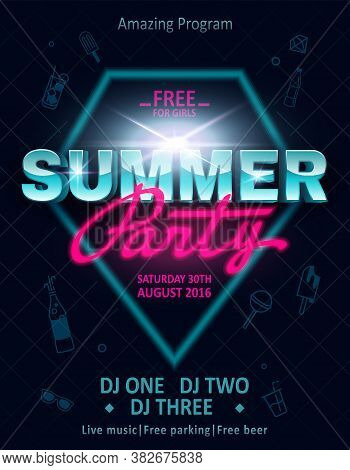 Dj Summer Party, Night Club Show Poster.retro Invitation Card For Concept Design. Summer Vacation Co