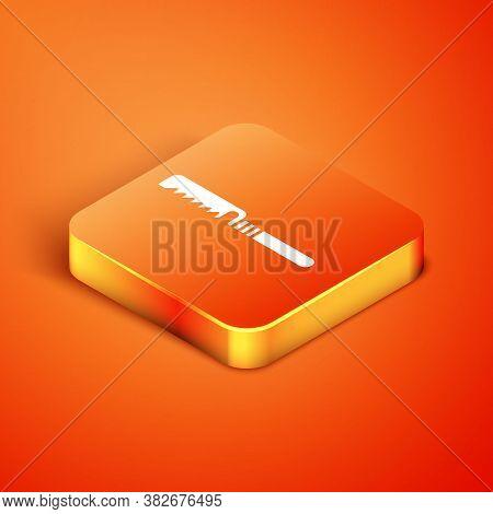 Isometric Medical Saw Icon Isolated On Orange Background. Surgical Saw Designed For Bone Cutting Lim