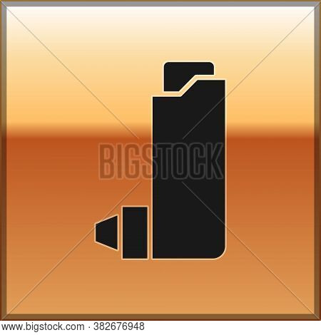 Black Inhaler Icon Isolated On Gold Background. Breather For Cough Relief, Inhalation, Allergic Pati
