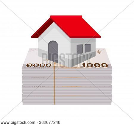 Money Banknote Thai Baht And House, Residential Home On Bank Note Money Thai Baht, Money For Real Es