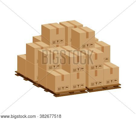 Pile Crate Boxes 3d On Wooden Pallet, Wood Pallet With Cardboard Box For Factory Warehouse Storage