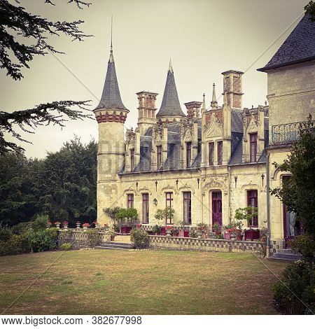 New Gothic castle of Regnière-Écluse in the department of Somme in France