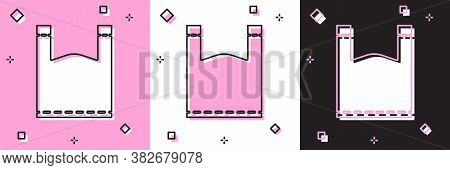Set Plastic Bag Icon Isolated On Pink And White, Black Background. Disposable Cellophane And Polythe