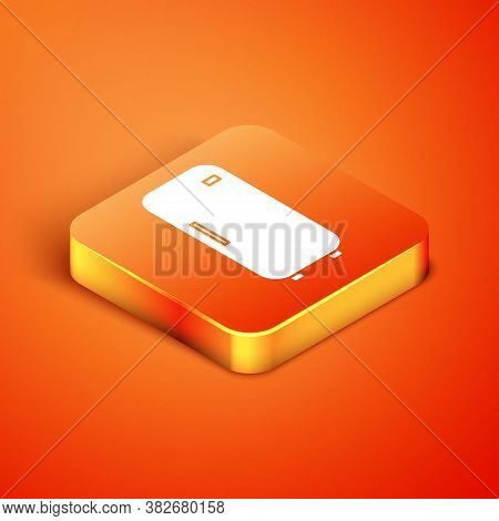 Isometric Refrigerator Icon Isolated On Orange Background. Fridge Freezer Refrigerator. Household Te