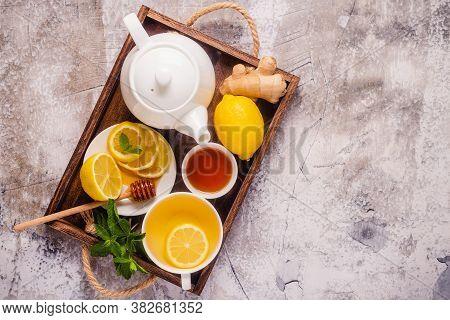 Green Tea With Lemon Honey, Ginger And Mint.