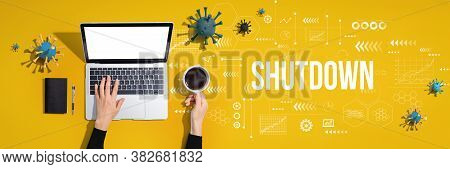 Shutdown Coronavirus Theme With Person Using A Laptop Computer