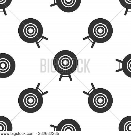 Grey Target Sport Icon Isolated Seamless Pattern On White Background. Clean Target With Numbers For