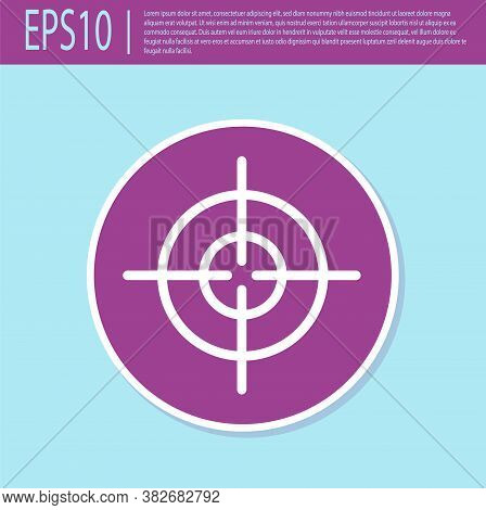Retro Purple Target Sport Icon Isolated On Turquoise Background. Clean Target With Numbers For Shoot