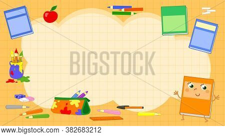 Orange Vector Squared Background With Primary School Objects Illustration