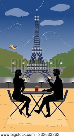 Evening In Paris Concept. Male And Female Silhouettes Sitting At The Table Outside Drinking Flavored