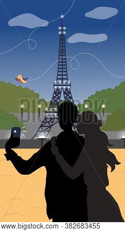 Summer Holidays Or Vacation In Paris Concept. Young Couple Spend Time In Paris. Male And Female Char