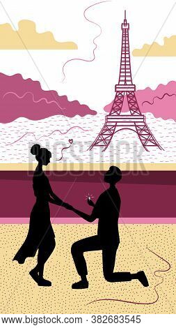 Romance In Paris Concept. Romantic Date, Man And Woman Silhouettes In Paris On Background Of Eiffel