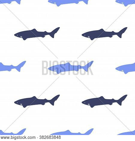 Seamless Pattern With Icon Polar Atlantic Sharks. Modern Vector Illustration For Web Design Or Print