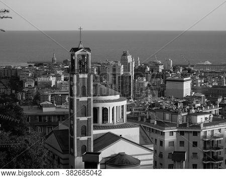Genova, Italy - 08/25/2020: Beautiful Aerial Photography Of The Luigi Ferraris Stadium And The Port