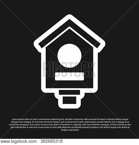 Black Bird House Icon Isolated On Black Background. Nesting Box Birdhouse, Homemade Building For Bir