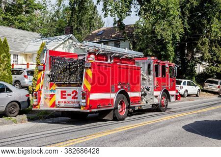 NORWALK, CT, USA -JULY 30, 2020:  Firefighter truck standing on Taylor Ave