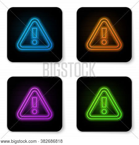 Glowing Neon Exclamation Mark In Triangle Icon Isolated On White Background. Hazard Warning Sign, Ca