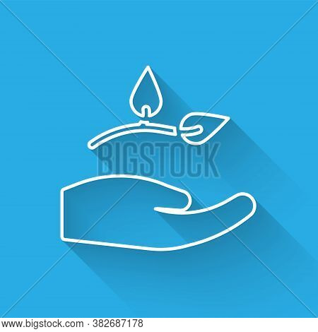 White Line Leaf In Hand Of Environmental Protection Icon Isolated With Long Shadow. Seed And Seedlin