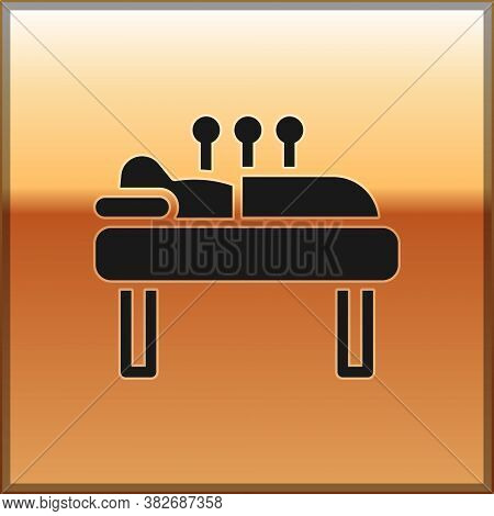 Black Acupuncture Therapy Icon Isolated On Gold Background. Chinese Medicine. Holistic Pain Manageme