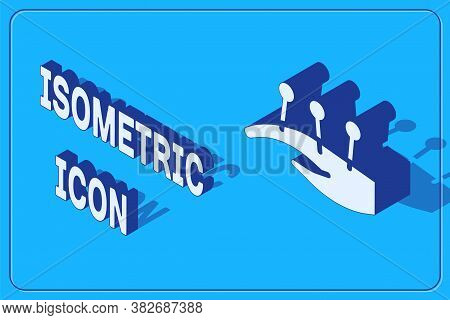Isometric Acupuncture Therapy On The Hand Icon Isolated On Blue Background. Chinese Medicine. Holist