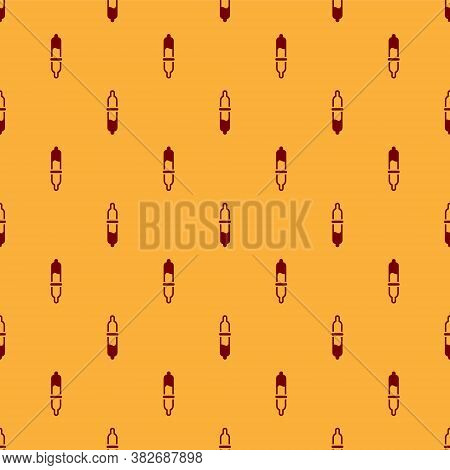 Red Pipette Icon Isolated Seamless Pattern On Brown Background. Element Of Medical, Chemistry Lab Eq