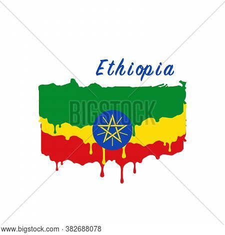 Painted Ethiopia Flag, Ethiopia Flag Paint Drips. Stock Vector Illustration Isolated On White Backgr