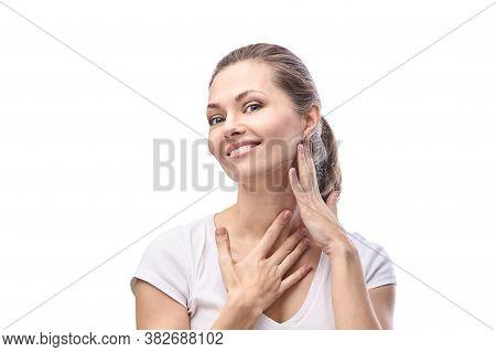Pretty Caucasian. Home Skincare Routine. Self Massage. Cosmetology Concept. Antiage Healthy Procedur