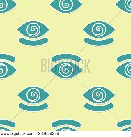 Green Hypnosis Icon Isolated Seamless Pattern On Yellow Background. Human Eye With Spiral Hypnotic I