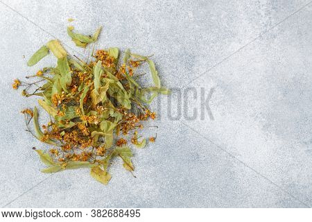 Linden Tea. Dry Lime For Making A Delicious Herbal Drink For Good Health. Selective Focus, Top View,