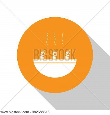 White Soup With Shrimps Icon Isolated On White Background. Tom Yum Kung Soup. Orange Circle Button.