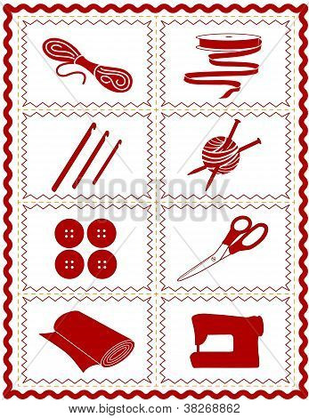 Tools and supplies icons for sewing, knitting, crochet, quilting, textile arts, crafts, do it yourself projects, red rick rack frame. EPS8 compatible. poster