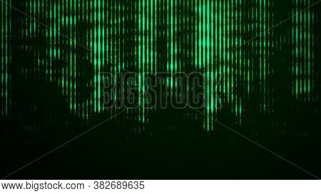 Abstract Green Glitch Background. Flowing Energy Particles. Digital Green Code. Hacker Concept. 3D R