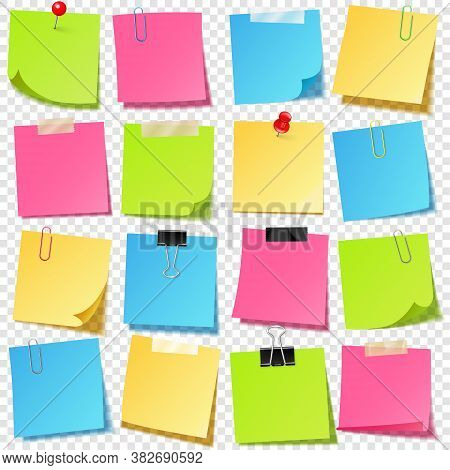 Realistic Colorful Blank Sticky Notes With Clip Binder. Colored Sheets Of Note Papers. Paper Reminde