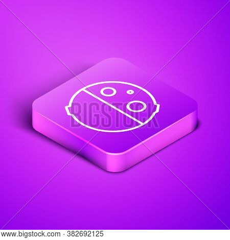 Isometric Line Eclipse Of The Sun Icon Isolated On Purple Background. Total Sonar Eclipse. Purple Sq