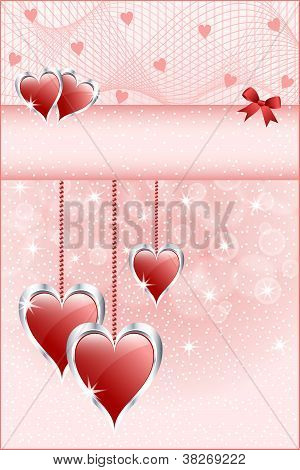 Red Love Hearts And Bow