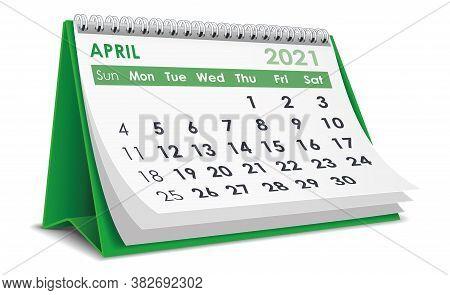 3d Desktop Calendar April 2021 In White Background