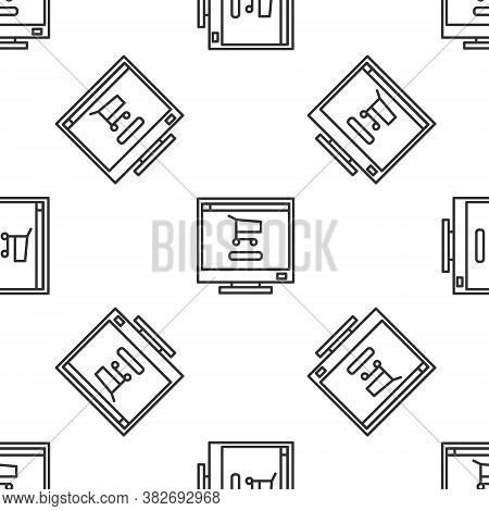 Grey Line Shopping Cart On Screen Computer Icon Isolated Seamless Pattern On White Background. Conce