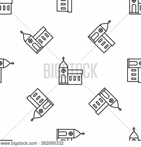 Grey Line Church Building Icon Isolated Seamless Pattern On White Background. Christian Church. Reli