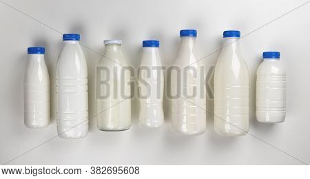 Dairy Products Packaging On White Background, Top View