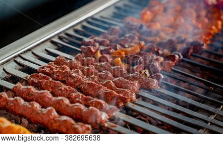 Tikka, Shish & Kofta Kebabs On Charcoal Barbeque Barbeque