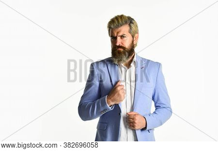 Business Man Wearing Smart Formal Clothes. Handsome Man With Stylish Hairdo. Portrait Of Professiona