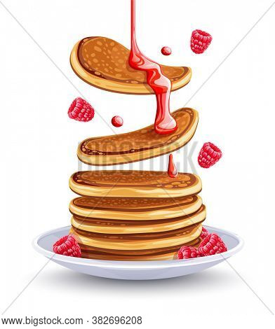 Pancakes with raspberries on the plate. Traditional sweet american breakfast with berries, Isolated on white background, Maple syrup flows at falling pancakes. 3D illustration.