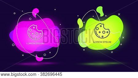 Line Chocolate Cookies With Marijuana Leaf Icon Isolated On Black Background. Weed, Ganja, Medical A