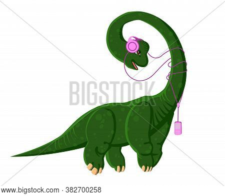 Brachiosaurus With Headphones Listening To Music. A Dinosaur With A Player. Vector Isolated Illustra