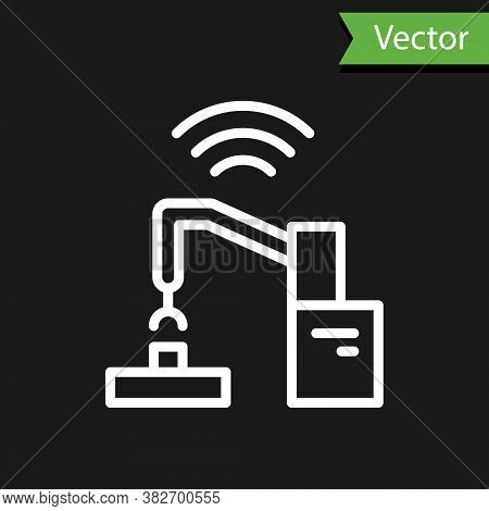 White Line Industrial Machine Robotic Robot Arm Hand Factory Icon Isolated On Black Background. Indu