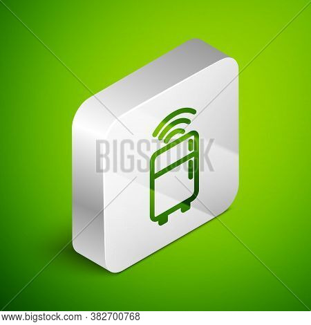 Isometric Line Smart Refrigerator Icon Isolated On Green Background. Fridge Freezer Refrigerator. In