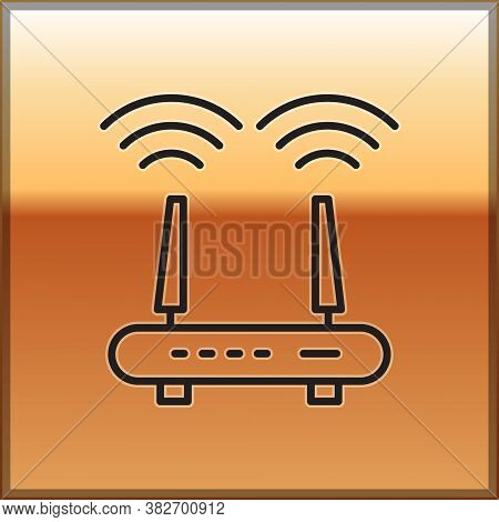 Black Line Router And Wi-fi Signal Icon Isolated On Gold Background. Wireless Ethernet Modem Router.