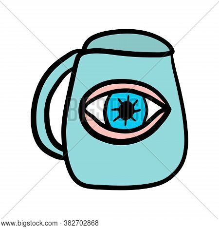 Human Eye In Jar Hand Drawn Vector Illustration Surreal In Cartoon Doodle Style Icon Logo