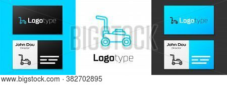 Blue Line Lawn Mower Icon Isolated On White Background. Lawn Mower Cutting Grass. Logo Design Templa