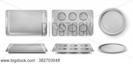 Trays For Baking Muffins, Pizza And Bakery Top And Front View, Empty Tin Pans, Isolated Rectangle An